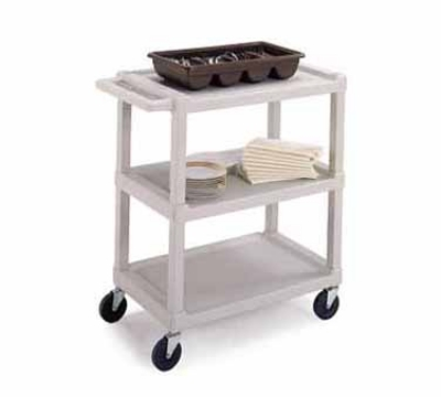 Lakeside 2000 Utility Cart w/ (3) 16 x 24-in Shelves, 300-lb Capacity, Beige