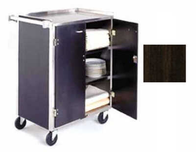 Lakeside 615 WAL Enclosed Bus Cart w/ 4-Shelves, Push Handle, 300-lb, Walnut