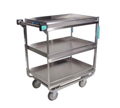 Lakeside 726 3-Shelf Utility Cart w/ Guard Rails, 18 x 27-in Shelves, 700-lb