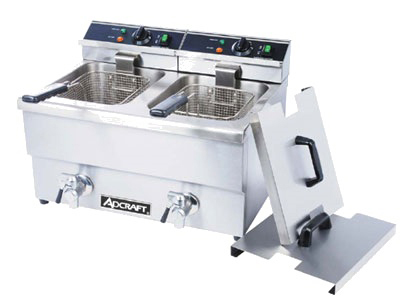 Adcraft DF-12L/2 Countertop Fryer w/ Faucet & 2-Pot, 50-lb/hr Capacity, Stainless