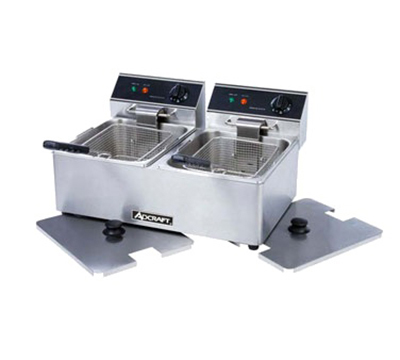 Adcraft DF-6L/2 Countertop Fryer w/ 2-Pot & 30-lb/hr Capacity, Stainless