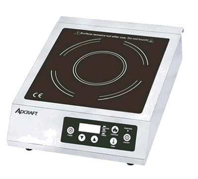 Adcraft IND-B120V Countertop Full-Size Induction Cooker w/ Auto Shut-Off & Glass Top, Stainless