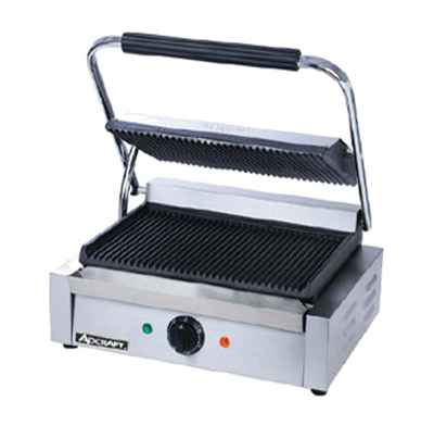Adcraft SG-811E Single Sandwich Grill w/ 13.25x9.25-in Ribbed Surface, Stainless