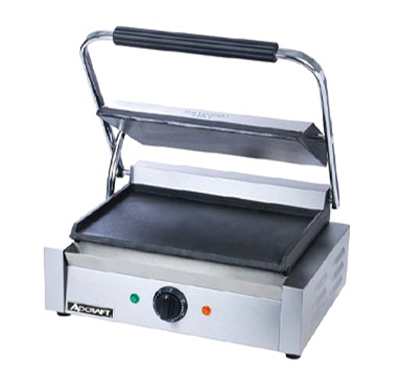 Adcraft SG-811E/F Single Sandwich Grill w/ 13.25x9.25-in Flat Surface, Stainless
