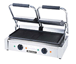 Adcraft SG-813 Double Sandwich Grill w/ 19x9.25-in Plates & Ribbed Surface, Stainless