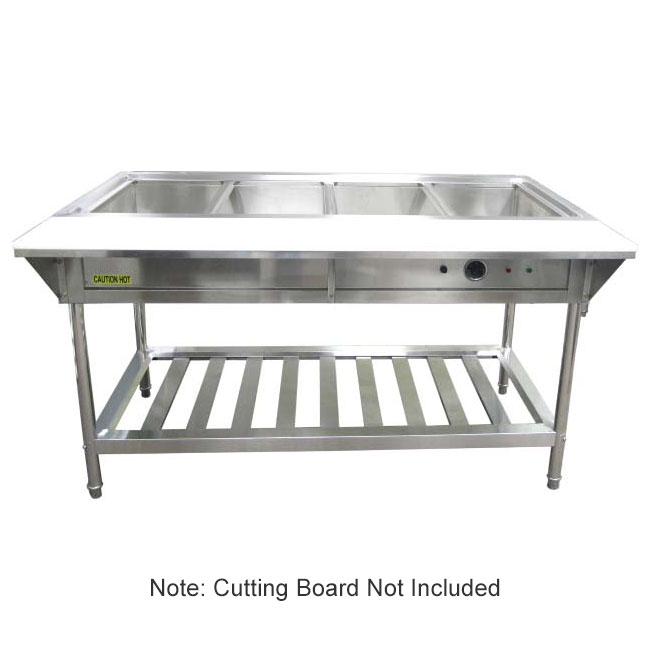 Adcraft EST-240 4-Well Water Bath Steam Table - Stainless 208/240v