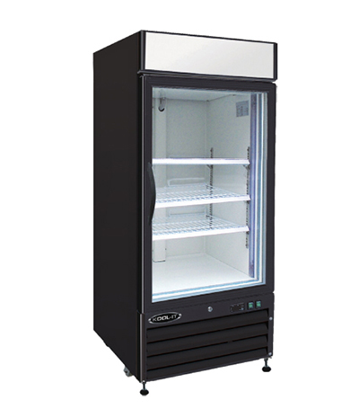 "Kool-It KGM-12 25"" Refrigerated Merchandiser - (1) Self-Closing Glass Door, 12-cu ft, Black"