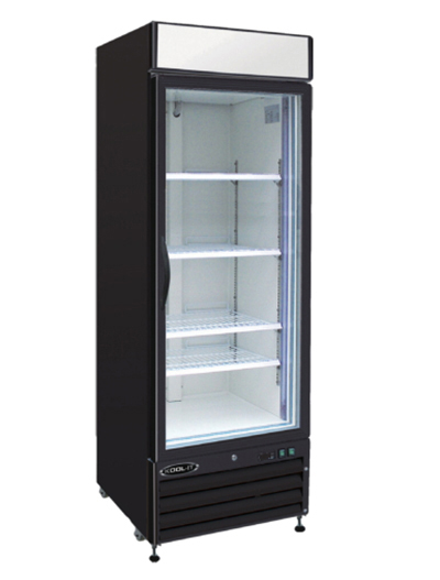 "Kool-It KGM-23 27"" Refrigerated Merchandiser - (1) Self-Closing Glass Door, 23-cu ft, Black"