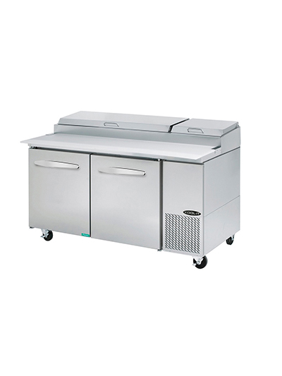 Kool-It KPT-67-2 67-in Pizza Preparation Table w/ Pans, 2-Sections & 2-Hinged D