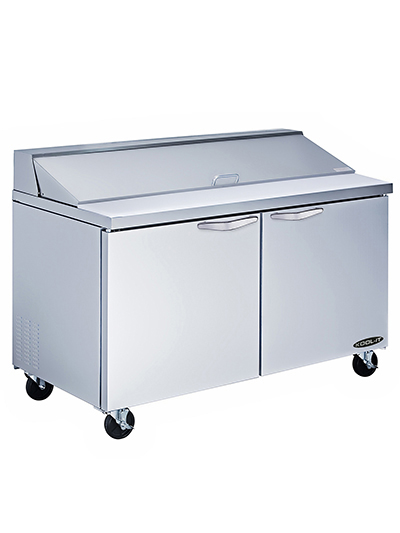 Kool-It KSTM-60-2 60-in Mega Top Sandwich Prep Unit w/ 2-Sections & 2-Shelves, Stainless, 19-cu ft