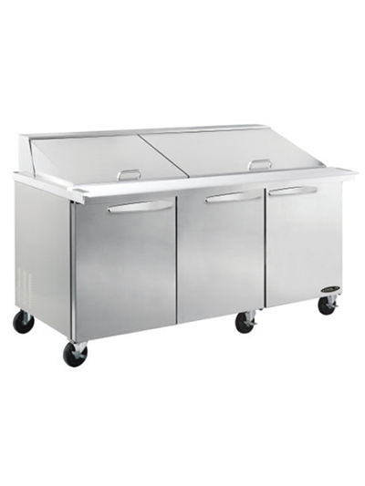 Kool-It KSTM-72-3 72-in Mega Top Sandwich Prep Unit w/ 3-Sections & 3-Shelves, Stainless, 23-cu ft