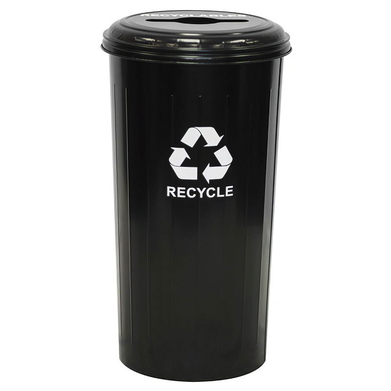 Witt Industries 10/1CTBK 20-Gallon Indoor Recycling Container w/ Round & Slot Hole, Black
