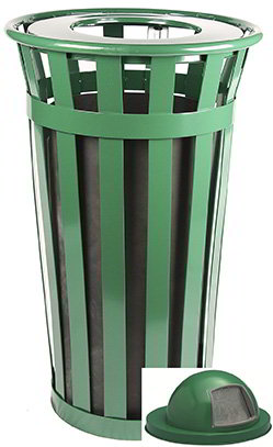 Witt Industries M2401-DT-GN 24-Gallon Outdoor Flat Bar Trash Can w/ Dome Top Lid, Green Finish