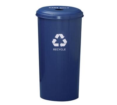 Witt Industries 10/1DTDB 20-Gallon Indoor Recycling Container w/ Circle Hole Top, Blue