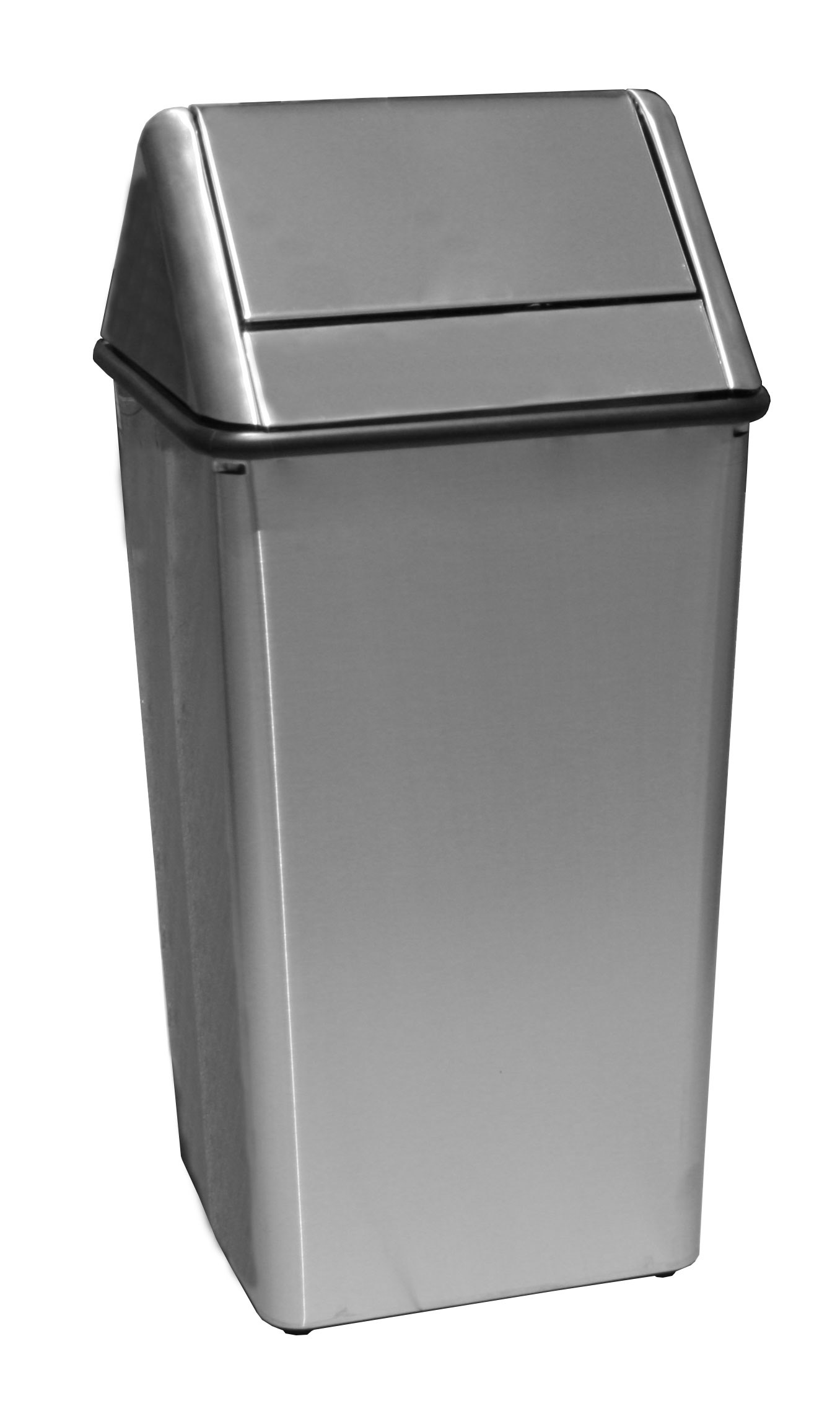 Witt Industries 1311HTSS 13-Gallon Indoor Trash Can w/ Square Hamper & Swing Top, Stainless