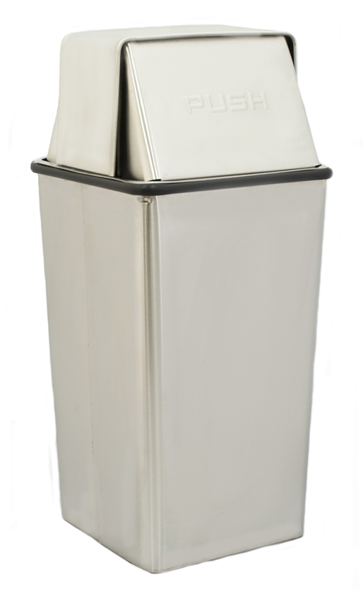 Witt Industries 13HTSS 13-Gallon Indoor Trash Can w/ Square Hamper & Push Top, Stainless