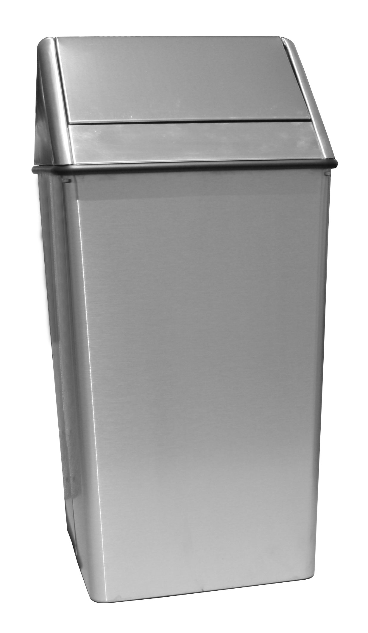 Witt Industries 1411HTSS 21-Gallon Indoor Trash Can w/ Square Hamper & Swing Top, Stainless