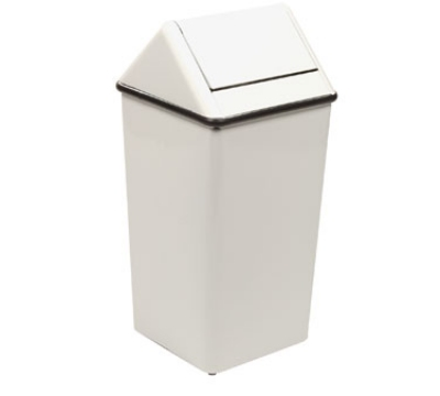 Witt Industries 1411HTWH 21-Gallon Indoor Trash Can w/ Square Hamper & Swing Top, White