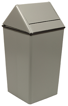 Witt Industries 1511HTSL 36-Gallon Indoor Trash Can w/ Square Hamper & Swing Top, Slate