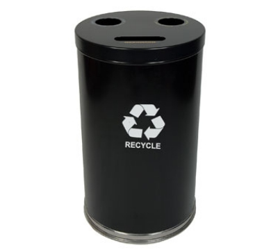 Witt Industries 18RTBK 33-Gallon Indoor Recycling Container w/ 3-Openings, Black Finish