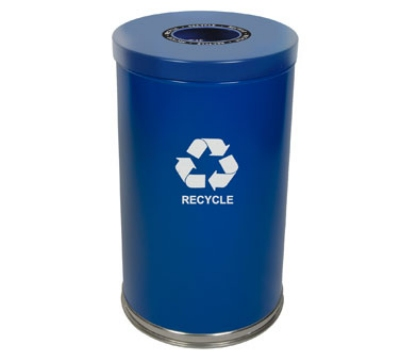 Witt Industries 18RTBL-1H 35-Gallon Indoor Recycling Container w/ 1-O