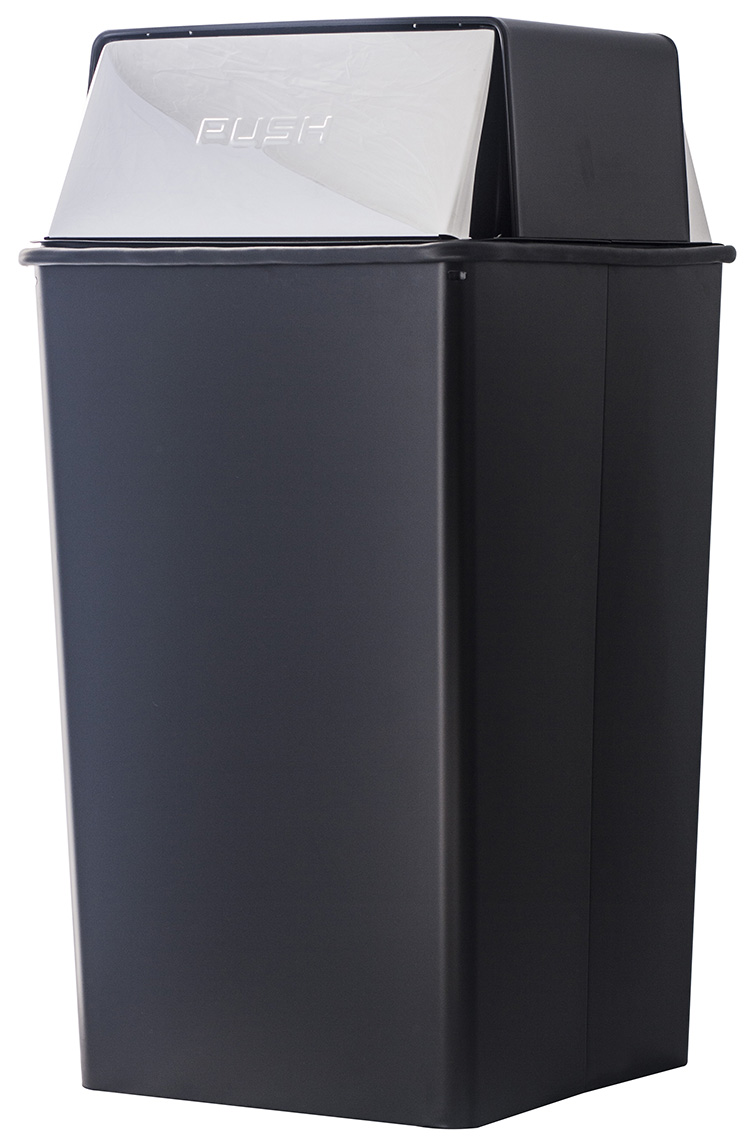 Witt Industries 36HT-22 36-Gallon Indoor Trash Can w/ Square Push Top, Black & Chrome Accent