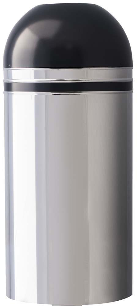 Witt Industries 415DT-44 15-Gallon Indoor Trash Can w/ Open Dome Top, Chrome & Black Accent