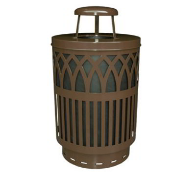 Witt Industries COV40P-RC-BN 40-Gallon Outdoor Trash Can w/ Rain Cap & Anchor Kit, Brown Finish