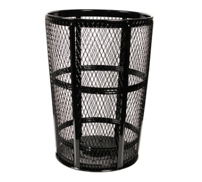 Witt Industries EXP-52BK 48-Gallon Outdoor Trash Can w/ See Through Mesh, Black Finish