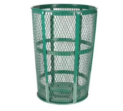 Witt Industries EXP-52GN 48-Gallon Outdoor Trash Can w/ See Through Mesh, Green Finish