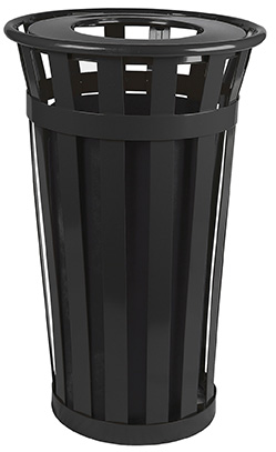 Witt Industries M2401-FT-BK 24-Gallon Outdoor Flat Bar Trash Can w/ Flat Top Lid, Black Finish
