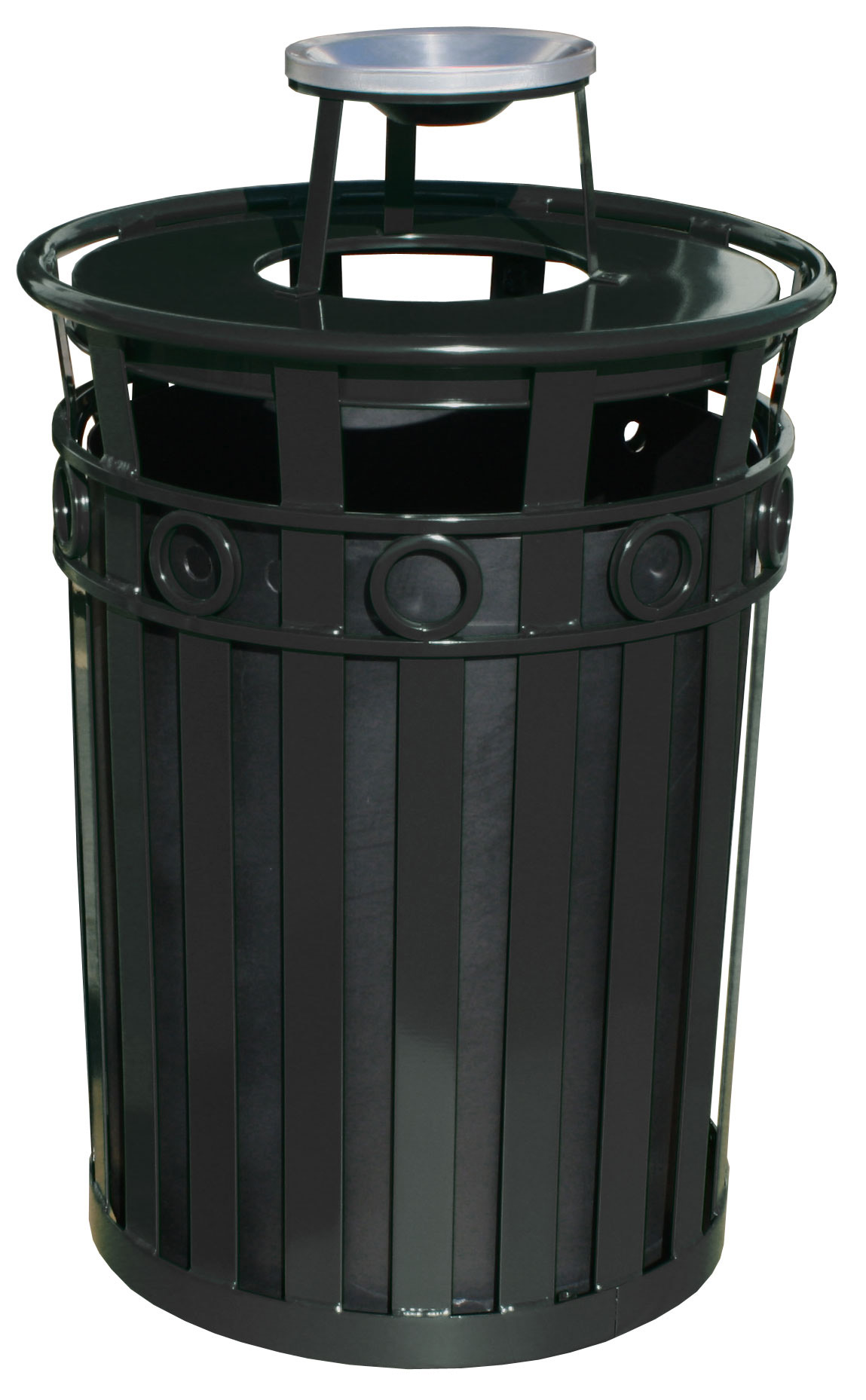 Witt Industries M3600-R-AT-BK 40-Gallon Outdoor Flat Bar Trash Can w/ Ash Top Lid, Black