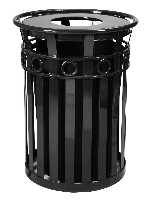 Witt Industries M3600-R-FT-BK 40-Gallon Outdoor Flat Bar Trash Can w/ Flat Top Lid, Black