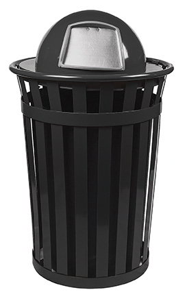 Witt Industries M3601-DT-BK 36-Gallon Outdoor Flat Bar Trash Can w/ Dome Top Lid, Black