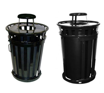 Witt Industries M3601SD-RC-BN 36-Gallon Outdoor Trash Can w/ Rain Cap Lid & Sliding Door