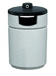 Witt Industries RLC-2038THAB-GR 27-Gallon Outdoor Side Load Trash Can w/ Hide-A-Butt, Graystone