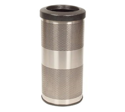 Witt Industries SC10-01-SS 10-Gallon Perforated Trash Can w/ Flat Top L