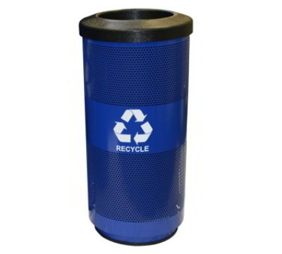 Witt Industries SC20-01-RP-BL 20-Gallon Recycling Container w/ Slot Opening Flat Top Lid, Blue