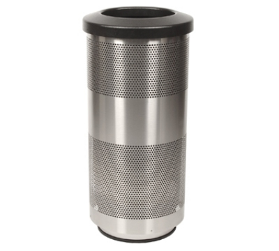 Witt Industries SC20-01-SS 20-Gallon Perforated Trash Can w/ Flat Top Lid, Stain