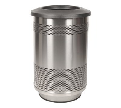 Witt Industries SC55-01-SS-FT 55-Gallon Perforated Trash Can w/ Flat Top Lid, Stainl