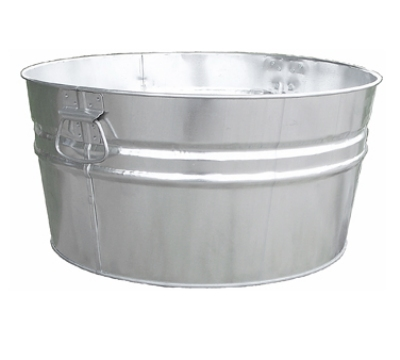 Witt Industries W14200 15-Gallon Outdoor Tub w/ Dual Drop Side Handles, Galvanized Steel