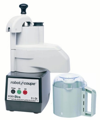 Robot Coupe R301 DICE 3.5 qt Combination Food Processor Plastic Bowl Grating & Slicing Disc 120V Restaurant Supply