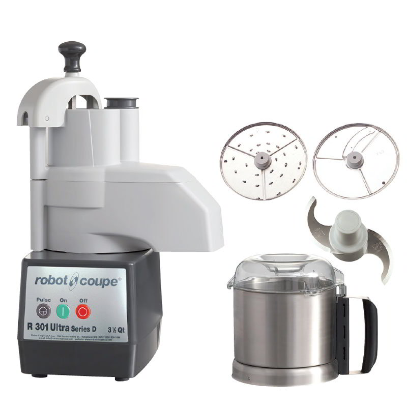 Robot Coupe R301U 3.5-qt Food Processor, Continuous Feed Kit & Stainless Bowl