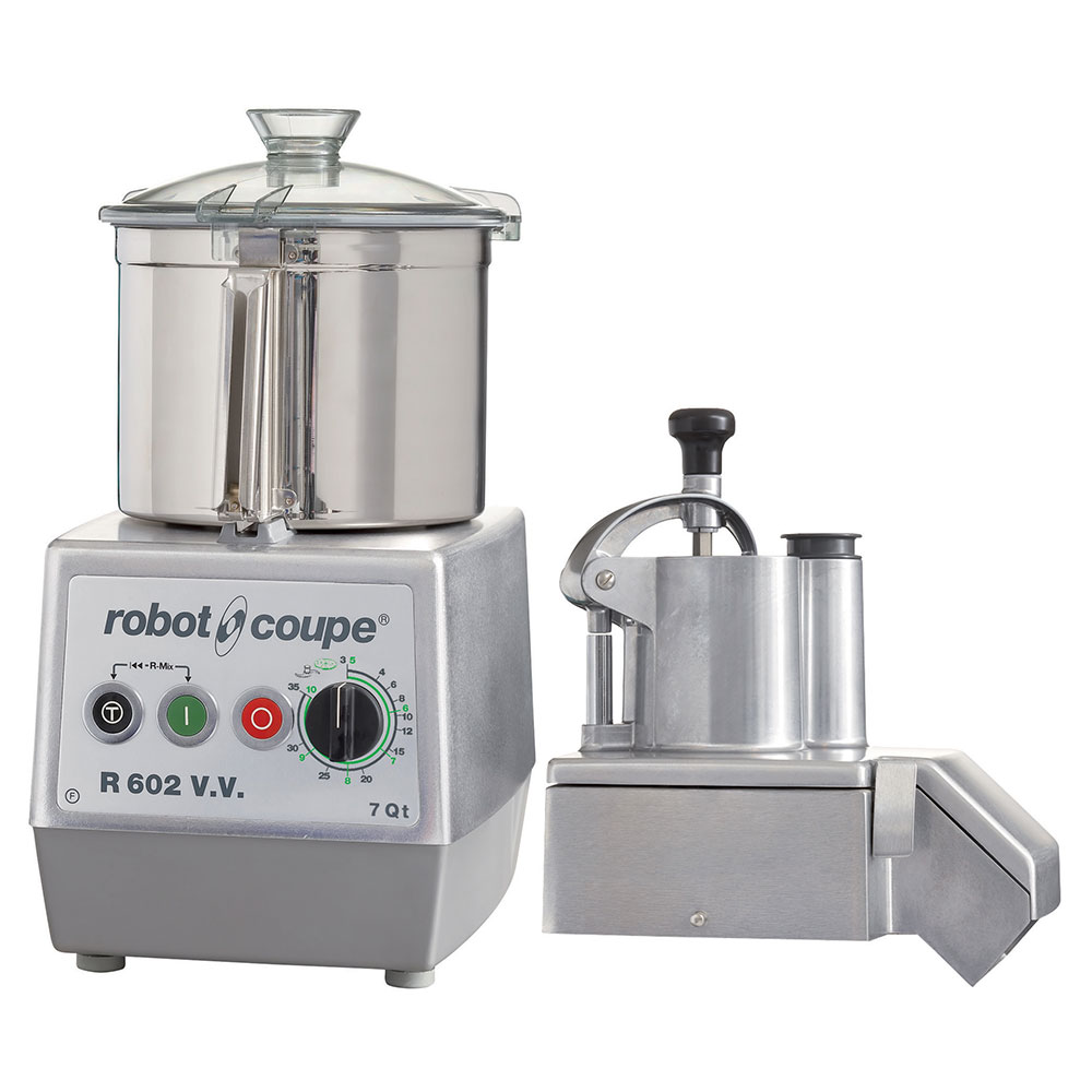 Robot Coupe R602V 7 qt Food Processor 2 Discs Continuous Feed Kit Variable Speed 120V Restaurant Supply