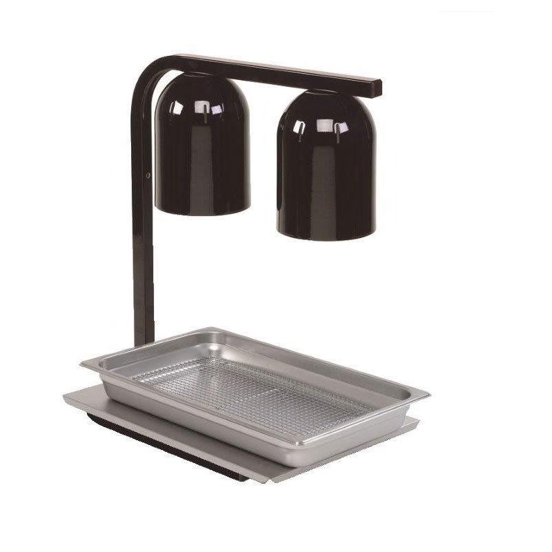 Nemco 6000A-2B Freestanding Infrared Heat Lamp w/ 2-Bulbs & Black Finish, 120/1 V