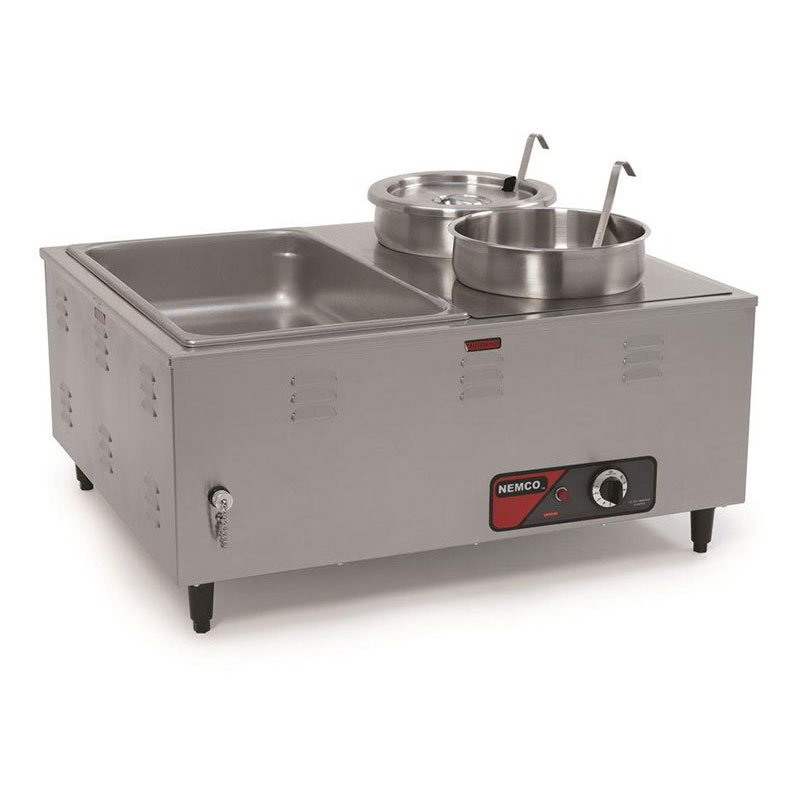Nemco 6060A Mini Steamtable w/ Front Drain Valves & Extra Steep Wells, 14x27x24-in, 120v