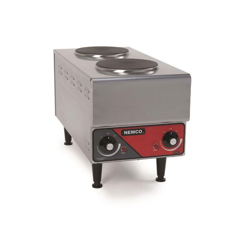 Nemco 6311-1-240 Hot Plate w/ 2-Burners & 6-Postion Temp Control, 14.5x11.38x24.13-in, 240V