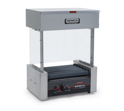 Nemco 8010VS 120 Roller Grill w/  Bun Warmer & Guard Combo, 10 Hot Dogs, 120V