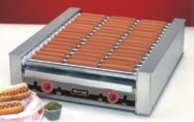 Nemco 8010VSX Hot Dog Grill w/ Bun Warmer, 6-Coated Rollers & 200-Per Hour Capacity, 120/1 V