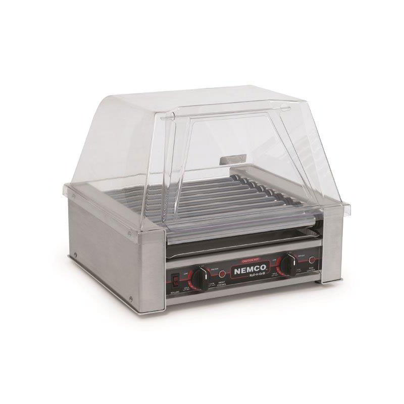 Nemco 8018 120 Hot Dog Grill w/ 10-Rollers & 360-Per Hour Capacity, 120/1V, 8-amps, Stainless
